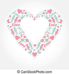 heart with love symbols