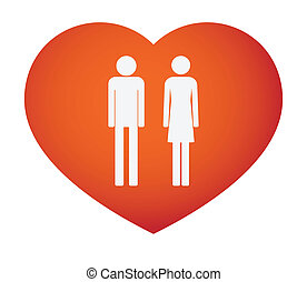 Heart with male and female pictograms