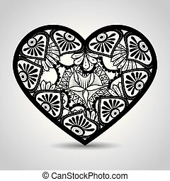 heart with mandala boho style