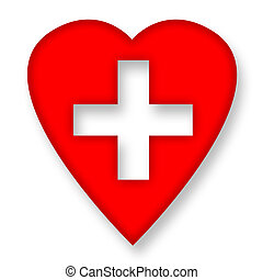 Red heart with medical cross over white background