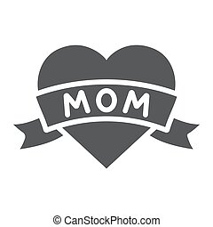 Heart with mom inscription glyph icon, love and mother, love mom tatoo sign, vector graphics, a solid pattern on a white background.