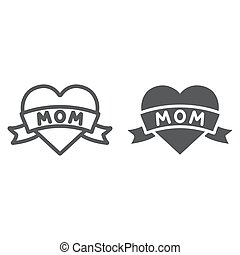 Heart with mom inscription line and glyph icon, love and mother, love mom tatoo sign, vector graphics, a linear pattern on a white background.