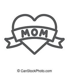 Heart with mom inscription line icon, love and mother, love mom tatoo sign, vector graphics, a linear pattern on a white background.