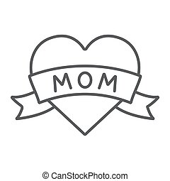 Heart with mom inscription thin line icon, love and mother, love mom tatoo sign, vector graphics, a linear pattern on a white background.
