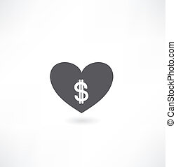 heart with money icon