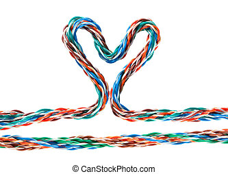 Heart with multicolored computer cable