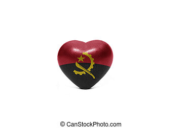heart with national flag of angola