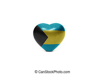 heart with national flag of bahamas