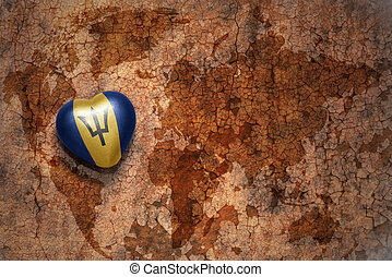 heart with national flag of barbados on a vintage world map crack paper background. concept