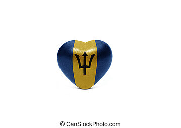 heart with national flag of barbados