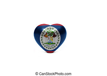 heart with national flag of belize