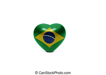 heart with national flag of brazil
