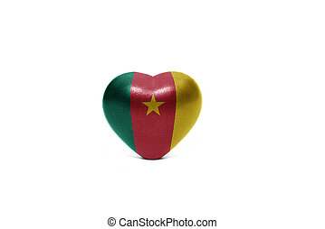 heart with national flag of cameroon on the white background
