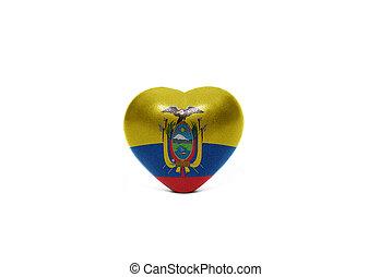 heart with national flag of ecuador