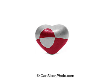 heart with national flag of greenland