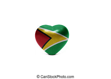 heart with national flag of guyana