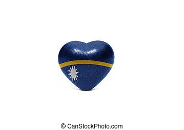 heart with national flag of Nauru