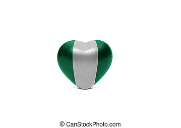 heart with national flag of nigeria on the white background