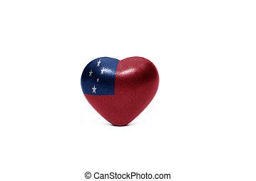 heart with national flag of Samoa