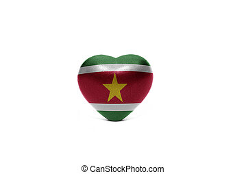 heart with national flag of suriname