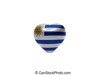 heart with national flag of uruguay