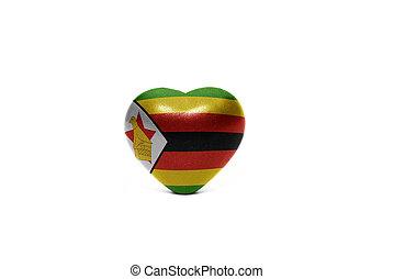 heart with national flag of zimbabwe