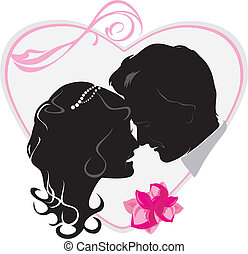 Heart with newly married. Wedding icon. Vector illustration