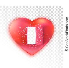 Heart with open door on transparent