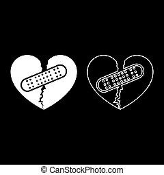 Heart with patch connecting two halves icon outline set white color vector illustration flat style image