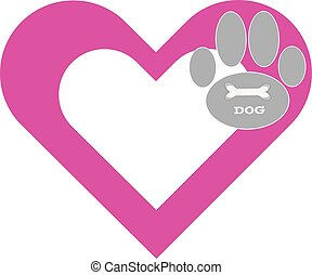 Heart with paw on white background