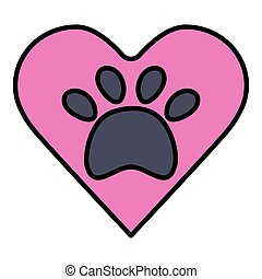 Download Animal's (dog's) paw print with heart. love pets. love ...