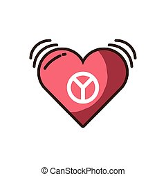 heart with peace symbol icon, fill style and colorful design