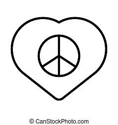 heart with peace symbol line style icon