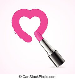 Heart with Pink  Lipstick. Vector