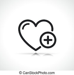 heart with plus sign icon