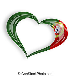 heart with portuguese flag colors on white background