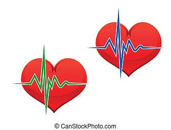 Heart with pulse graph as a medicine concept