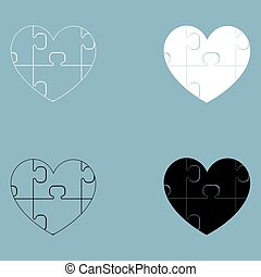 Heart with puzzle  the black and white color icon .