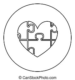 Heart with puzzle the black color icon in circle or round
