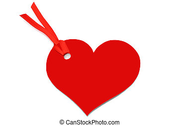 Heart with red bow on white background