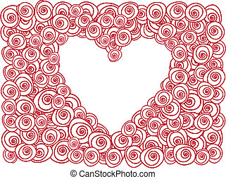 heart with red roses - greeting card with red roses and...