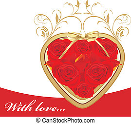 Heart with red roses