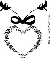 heart with ribbon and birds frame