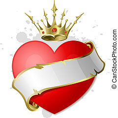 Heart with ribbon and crown. - Red heart with white ribbon...
