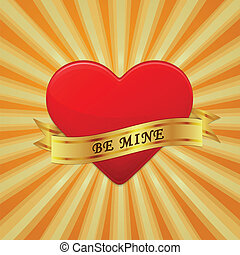 Heart with ribbon and phrase Be Mine.