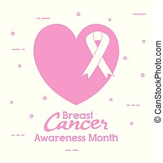 heart with ribbon cancer icons
