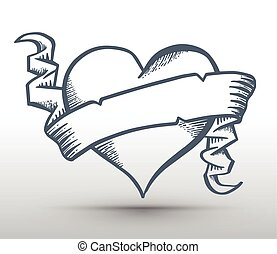 Heart with ribbon drawing banner