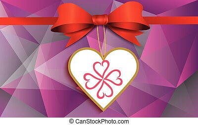 heart with ribbon on abstract background