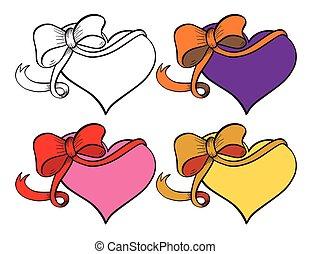 Heart with ribbon set.