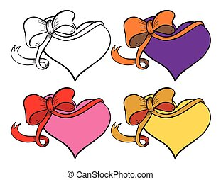 Heart with ribbon set.
